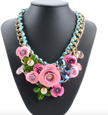 Fashion Gold Copper Leather Stripe Chain Crystal Flower Statement Necklace