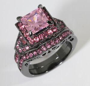 2pc Princess Cut Square Pink CZ Halo Black Engagement Ring Set Wedding Jewelry
