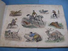 VICTOR ADAM LA FOIRE AUX IDEES 1840-50 4 Planches Couleurs CARICATURES CHASSE