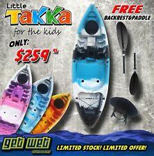 Little Takka Kids Kayak With Paddle And Backrest Yellow/Orange