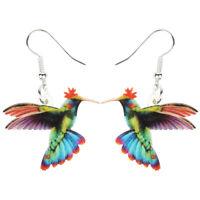 Acrylic Flying Hummingbird Earrings Dangle Trendy Animal Jewelry For Women Charm