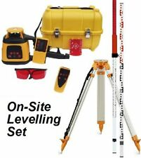 Spot-On Rotary Laser Level 300 - On-Site Set w/Receiver, Remote, Tripod & Staff