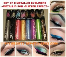 8 METALLIC Waterproof Liquid Shimmer Eyeliner Pen Full Size Colors Eye liner NEW