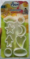 8 Pcs Car Fish Oval Heart Moon Star Cookie Fondant Gum Paste Cutter Plunger Set