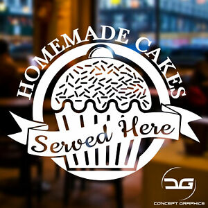 Homemade Cakes Cafe Shop Window Wall Baking Business Vinyl Decal Sticker Sign