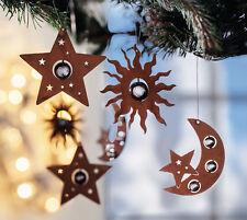 Hänger Rostoptik 6er Set, Christbaumschmuck, Weihnachtsdekoration, Mond, Sterne