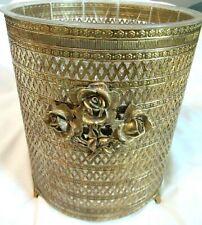 Vintage Gold Gilt Filigree METAL Trash Can Wastebasket Cover & LINER Hollywood