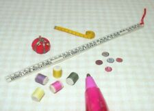 Miniature Sewing Doo-Dads: Pin Cushion, Threads, Etc. Dollhouse Miniatures 1:12