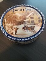 Currier And Ives The American Homestead Winter Scene Collectors Tin Empty