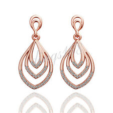 18k Rose Gold Filled Exquisite Water Drops 40mm Crystal Dangle Earrings H977