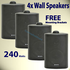 "4x Adastra Wall Mount 3"" Black Speakers PA 100v Line Background Music System 240"