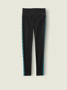 Victorias Secret PINK Cotton High Waist Legging Black Turquoise M NWT