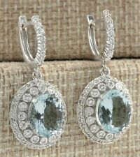 5.50ct White Topaz & Diamond Dangle Drop Earrings 14k Gold