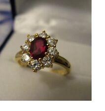 Bague Femme T54  Fleur 14mm Rubis & Diamant Cz Plaqué Or 18K Laminé 5 Microns