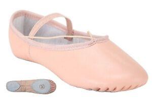 Pink Ballet Dance Leather Shoes Split Sole Children's & Adult's Sizes