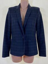 ZARA navy blue check plaid blazer jacket size S Small UK 8 - 10