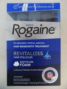 MEN'S ROGAINE TOPICAL FOAM THREE MONTH SUPPLY EXP 02/2018 NEW