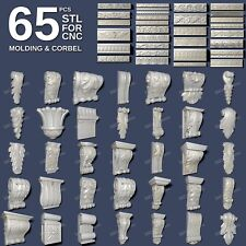 3d stl model cnc router artcam aspire 65 pcs molding corbel collection
