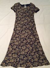 Vintage Laura Ashley Dress Size 8 Blue Long Floral Short Sleeve Modest