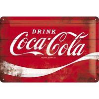 Coca Cola Logo Blechschild Schild 3D geprägt gewölbt Tin Sign 20 x 30 cm