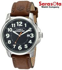 Timex Expedition T44921 Black Dial Stainless Steel Brown Leather Men's Watch