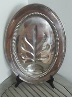 "Vtg Kent Silversmiths Platter Meat Serving Tray Platter  Oval 16"" × 11.5"" Footed"