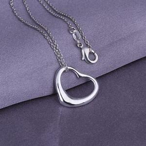 Silver Plated Small Bright Heart Necklace & Chain 925 Sterling 50cm 19 inch Long
