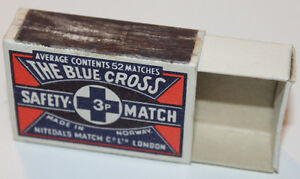 Blue Cross Norway Safety Matchbook Cover Empty Box Nitedals Matches Co London