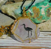 Rose Quartz Gold Crane Totem Spirit Necklace With Sunstone for Inner Activation