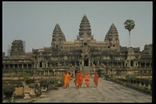 076004 Orange Robed Monks At Angkorwat A4 Photo Print