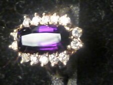 Ladies AMETHYST w/ DIAMONDS RING in 14K yellow gold