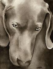 Weimaraner Art Print Sepia Watercolor Painting by Artist DJR