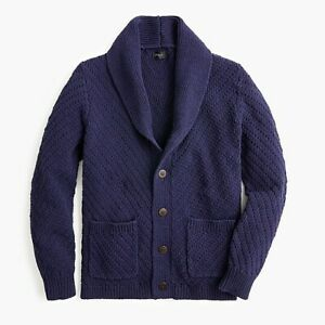 Jcrew Diagonal-stitch rope cotton shawl-collar cardigan sweater XS Mens NWT