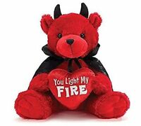 """NEW Plush Red Bear with Black Cape and Horns Valentine's Day Bear 12"""" Sitting"""