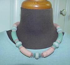 Feminine Pink Aqua Gray Large & Small Disc Bead Princess Length Necklace