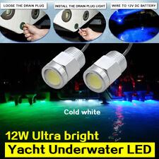 Marine scooter yacht LED lights 12W Drain Plug Light White Underwater Stainless