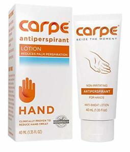 Carpe Antiperspirant Hand Lotion, A dermatologist-recommended, non-irritating, s