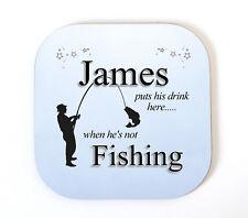 Personalised FISHING Coaster Drinks Mat Fun Novelty Christmas Birthday Gift Idea
