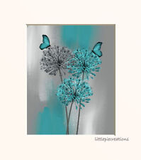 Teal Gray Dandelion Butterflies Modern Contemporary USA Handmade Wall Picture