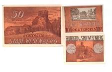 1922 Germany WESENBERG  full set of  10 25 and 50 Phennig Banknote / Notgeld