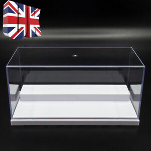UK Clear Acrylic Display Case Perspex Box 20cm L Plastic White Base Dustproof UV