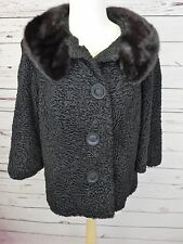 Vintage 50's  Black REAL Persian Lamb Mink Collar Fur Swing Coat
