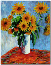 "Vase of Sunflowers - 20x24"" Hand Painted Claude Monet Oil Painting Flower Art"