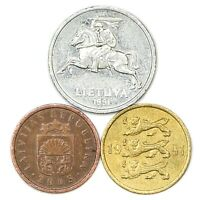 3 DIFFERENT COINS FROM BALTIC STATES: ESTONIA, LATVIA, LITHUANIA. OLD COINS
