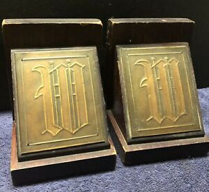 """Antique Monogrammed """"W""""  Book End Set, Henry Longfellow Copper & Wood"""