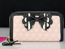 Betsey Johnson Zip Around Light Pink w/Stripe Black & White Glitter Bow Wallet