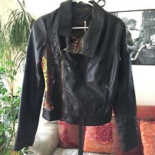 DESIGUAL sz 36 / S Dark Brown Embroidered Faux vegan Leather Moto Jacket