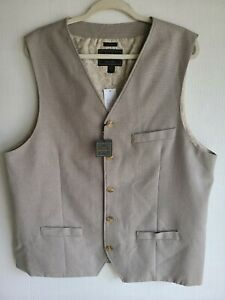 Jos A Bank Reserve Men Waistcoat Vest Olive & Tan Tailored Fit Lined 2XLT New