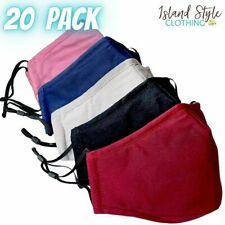 20 PACK - PLAIN MIXED Adults Face Masks Cotton Reusable Includes Filter Pocket