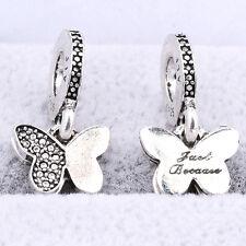 2Pcs Retro Tibetan Silver Butterfly Dangle Charm Bead Fit Bracelet Necklace